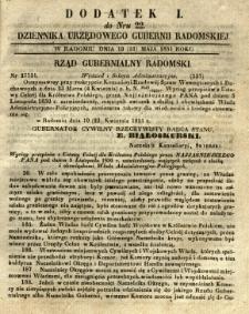 Dziennik Urzędowy Gubernii Radomskiej, 1851, nr 22, dod. I