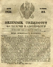 Dziennik Urzędowy Gubernii Radomskiej, 1851, nr 23