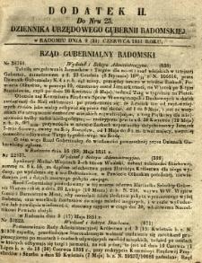 Dziennik Urzędowy Gubernii Radomskiej, 1851, nr 25, dod. II