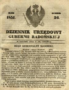 Dziennik Urzędowy Gubernii Radomskiej, 1851, nr 26