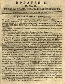 Dziennik Urzędowy Gubernii Radomskiej, 1851, nr 26, dod. II