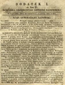 Dziennik Urzędowy Gubernii Radomskiej, 1851, nr 27, dod. I