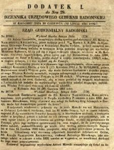 Dziennik Urzędowy Gubernii Radomskiej, 1851, nr 28, dod. I