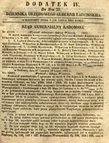 Dziennik Urzędowy Gubernii Radomskiej, 1851, nr 29, dod. IV