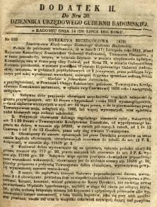 Dziennik Urzędowy Gubernii Radomskiej, 1851, nr 30, dod. II
