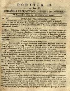 Dziennik Urzędowy Gubernii Radomskiej, 1851, nr 30, dod. III