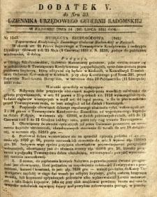 Dziennik Urzędowy Gubernii Radomskiej, 1851, nr 30, dod. V