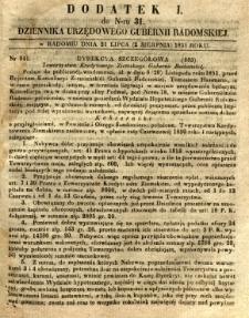 Dziennik Urzędowy Gubernii Radomskiej, 1851, nr 31, dod.I
