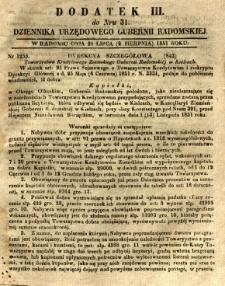 Dziennik Urzędowy Gubernii Radomskiej, 1851, nr 31, dod.III