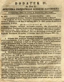 Dziennik Urzędowy Gubernii Radomskiej, 1851, nr 31, dod.IV