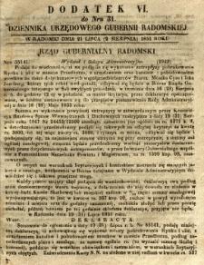 Dziennik Urzędowy Gubernii Radomskiej, 1851, nr 31, dod.VI