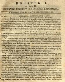 Dziennik Urzędowy Gubernii Radomskiej, 1851, nr 32, dod.I