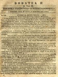 Dziennik Urzędowy Gubernii Radomskiej, 1851, nr 32, dod.II