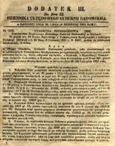 Dziennik Urzędowy Gubernii Radomskiej, 1851, nr 32, dod.III