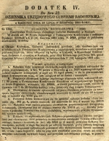 Dziennik Urzędowy Gubernii Radomskiej, 1851, nr 32, dod.IV