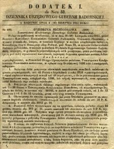 Dziennik Urzędowy Gubernii Radomskiej, 1851, nr 33, dod.I