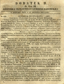 Dziennik Urzędowy Gubernii Radomskiej, 1851, nr 33, dod.II