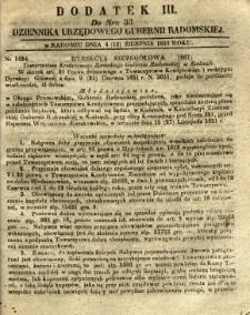 Dziennik Urzędowy Gubernii Radomskiej, 1851, nr 33, dod.III