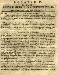 Dziennik Urzędowy Gubernii Radomskiej, 1851, nr 33, dod.IV