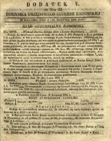 Dziennik Urzędowy Gubernii Radomskiej, 1851, nr 33, dod.V