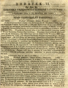 Dziennik Urzędowy Gubernii Radomskiej, 1851, nr 33, dod.VI