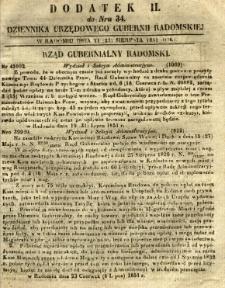 Dziennik Urzędowy Gubernii Radomskiej, 1851, nr 34, dod. II