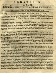 Dziennik Urzędowy Gubernii Radomskiej, 1851, nr 34, dod. IV