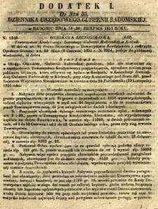 Dziennik Urzędowy Gubernii Radomskiej, 1851, nr 35, dod. I