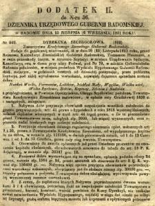 Dziennik Urzędowy Gubernii Radomskiej, 1851, nr 36, dod. II