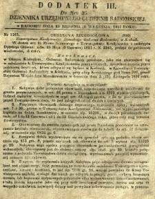 Dziennik Urzędowy Gubernii Radomskiej, 1851, nr 36, dod. III