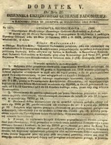 Dziennik Urzędowy Gubernii Radomskiej, 1851, nr 36, dod. V