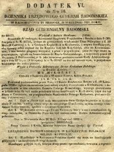Dziennik Urzędowy Gubernii Radomskiej, 1851, nr 36, dod. VI