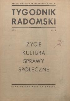Tygodnik Radomski, 1933, R. 1, nr 1