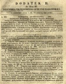 Dziennik Urzędowy Gubernii Radomskiej, 1851, nr 37, dod. II