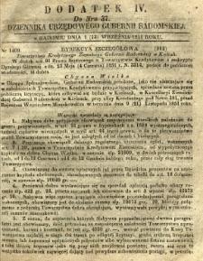 Dziennik Urzędowy Gubernii Radomskiej, 1851, nr 37, dod. IV