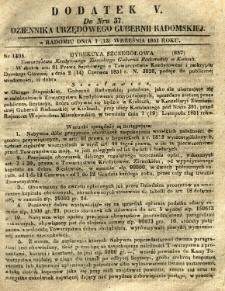Dziennik Urzędowy Gubernii Radomskiej, 1851, nr 37, dod. V