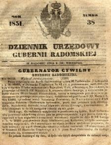 Dziennik Urzędowy Gubernii Radomskiej, 1851, nr 38