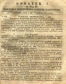 Dziennik Urzędowy Gubernii Radomskiej, 1851, nr 38, dod. I