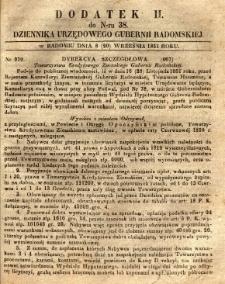 Dziennik Urzędowy Gubernii Radomskiej, 1851, nr 38, dod. II