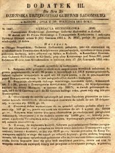 Dziennik Urzędowy Gubernii Radomskiej, 1851, nr 38, dod. III