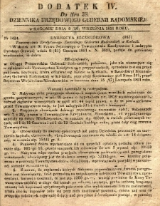 Dziennik Urzędowy Gubernii Radomskiej, 1851, nr 38, dod. IV