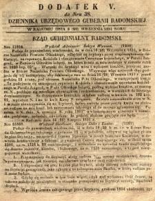 Dziennik Urzędowy Gubernii Radomskiej, 1851, nr 38, dod. V
