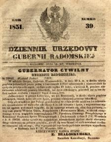 Dziennik Urzędowy Gubernii Radomskiej, 1851, nr 39