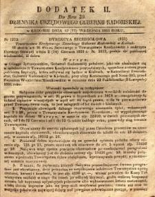 Dziennik Urzędowy Gubernii Radomskiej, 1851, nr 39, dod. II