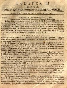 Dziennik Urzędowy Gubernii Radomskiej, 1851, nr 39, dod. III