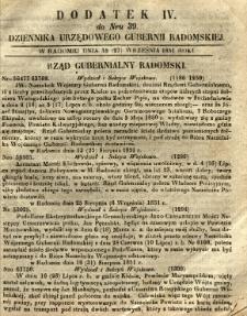 Dziennik Urzędowy Gubernii Radomskiej, 1851, nr 39, dod. IV