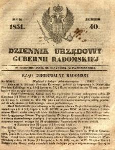Dziennik Urzędowy Gubernii Radomskiej, 1851, nr 40