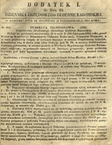 Dziennik Urzędowy Gubernii Radomskiej, 1851, nr 40, dod. I