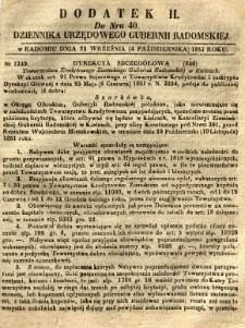 Dziennik Urzędowy Gubernii Radomskiej, 1851, nr 40, dod. II