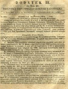 Dziennik Urzędowy Gubernii Radomskiej, 1851, nr 40, dod. III